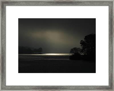 Sunrise Trying To Break Out Lake Oconee Framed Print by Reid Callaway