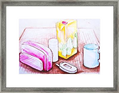 Breakfast Seamless Background Drawing Framed Print
