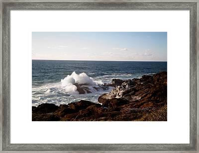 Breaking On The Rocks Framed Print