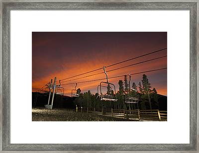 Breckenridge Chairlift Sunset Framed Print by Michael J Bauer
