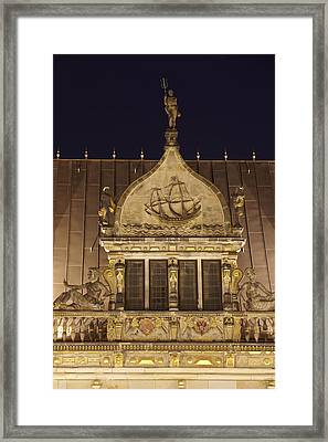 Bremen - Gable Of The Chambre Of Industry And Commerce At Night Framed Print by Olaf Schulz