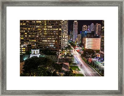 Brickell Ave Downtown Miami  Framed Print by Michael Moriarty