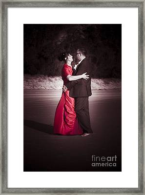 Bride And Groom Dancing Framed Print