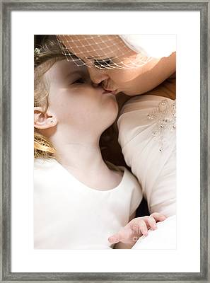 Bride Kissing Her Daughter Framed Print