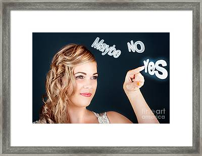 Bride Making Choice In A Marriage Proposal Concept Framed Print by Jorgo Photography - Wall Art Gallery