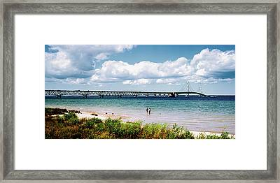 Bridge Across A Lake, Mackinac Bridge Framed Print by Panoramic Images