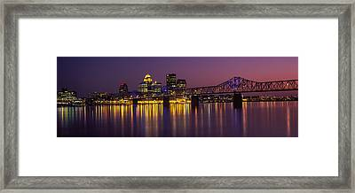 Bridge Across A River At Dusk, George Framed Print by Panoramic Images