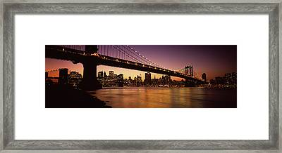 Bridge Across The River, Manhattan Framed Print by Panoramic Images