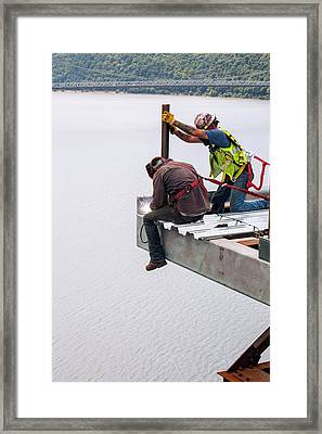 Bridge Lift Construction Workers Framed Print