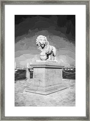 Bridge Of Lions St Augustine Florida Painted Bw   Framed Print