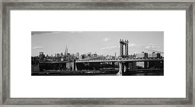 Bridge Over A River, Manhattan Bridge Framed Print by Panoramic Images
