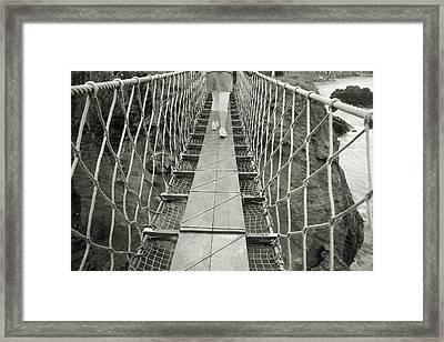 Bridge Walk Carrick-a-rede Northern Ireland Framed Print