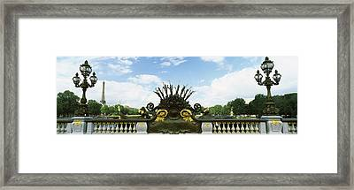 Bridge With A Tower In The Background Framed Print by Panoramic Images