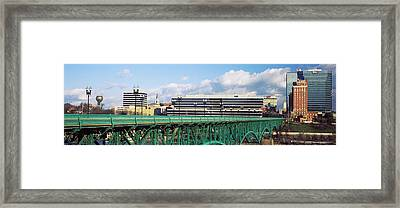 Bridge With Buildings Framed Print