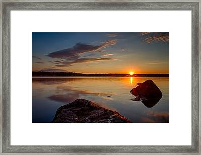 Brilliant Sunrise Baxter Lake Nh Framed Print by Jeff Sinon