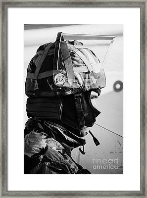 British Army Soldier With Helmet And Riot Gear On Crumlin Road At Ardoyne Shops Belfast 12th July Framed Print by Joe Fox