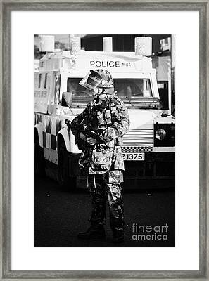 British Army Soldier With Mp5 On Crumlin Road At Ardoyne Shops Belfast 12th July Framed Print
