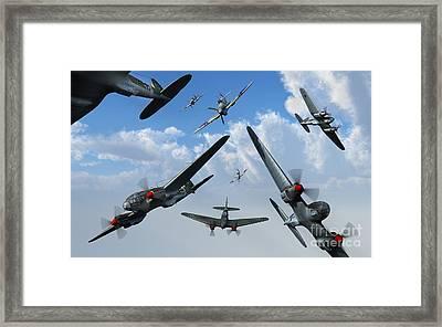 British Supermarine Spitfires Attacking Framed Print by Mark Stevenson