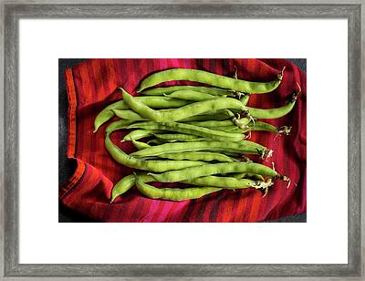 Broad Beans On A Red Cloth Framed Print