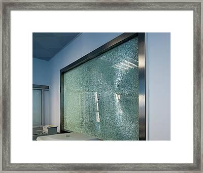 Broken Tempered Glass Window Framed Print by Pan Xunbin
