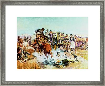 Bronc For Breakfast Framed Print by Charles Russell