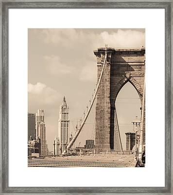 Brooklyn Bridge And Woolworth Building Framed Print