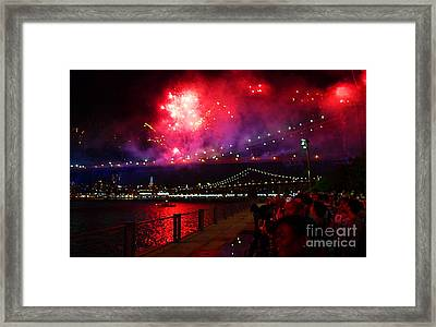 Brooklyn Bridge Fireworks Framed Print