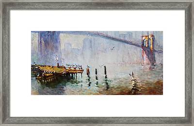 Brooklyn Bridge In A Foggy Morning   Framed Print by Ylli Haruni