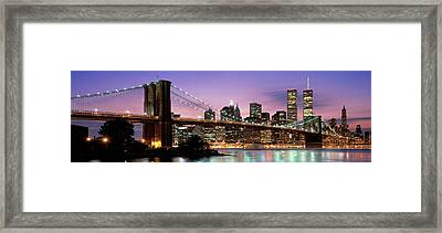 Brooklyn Bridge New York Ny Usa Framed Print by Panoramic Images
