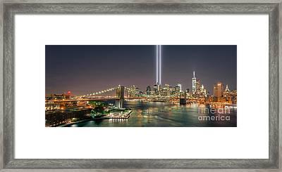 Brooklyn Bridge September 11 Framed Print