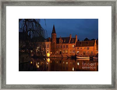 Bruges Rozenhoedkaai Night Scene Framed Print