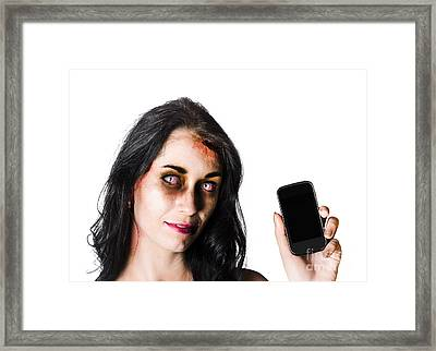 Bruised Zombie Woman With Cell Phone Framed Print