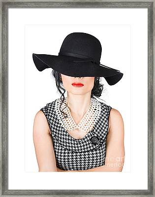 Brunette Woman In Chic Pearl Jewelry. Fashion Hats Framed Print by Jorgo Photography - Wall Art Gallery