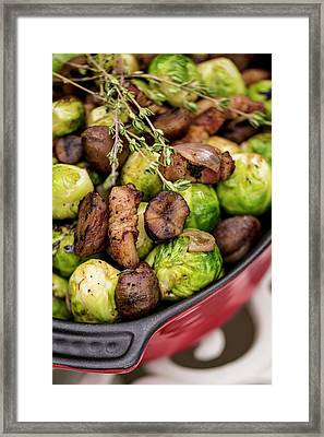 Brussels Sprouts In Dish Framed Print