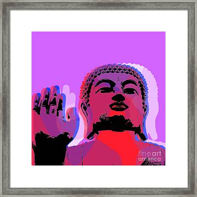 Framed Print featuring the digital art Buddha Pop Art - Warhol Style by Jean luc Comperat