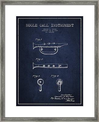 Bugle Call Instrument Patent Drawing From 1939 - Navy Blue Framed Print by Aged Pixel