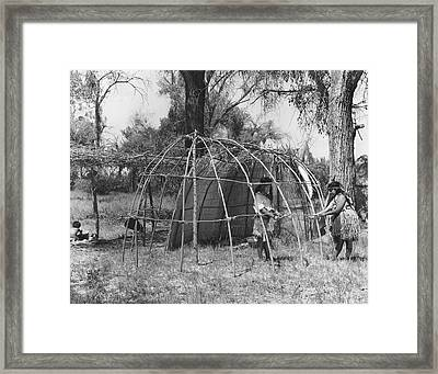Building A Yokut House Framed Print by Underwood Archives Onia