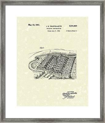 Building Construction 1941 Patent Art Framed Print by Prior Art Design