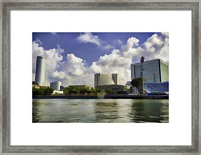 Buildings Along The Waterfront In Singapore Framed Print by Ashish Agarwal