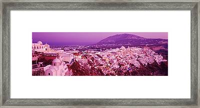 Buildings, Houses, Fira, Santorini Framed Print