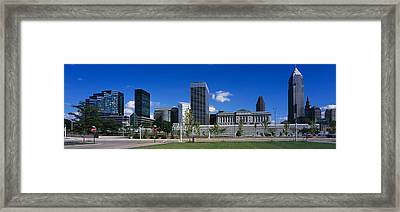 Buildings In A City, Cleveland, Ohio Framed Print