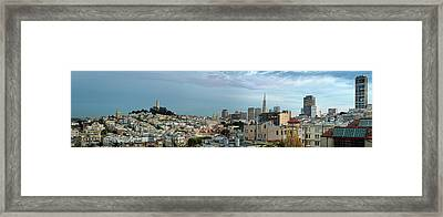 Buildings In A City, Coit Tower, San Framed Print