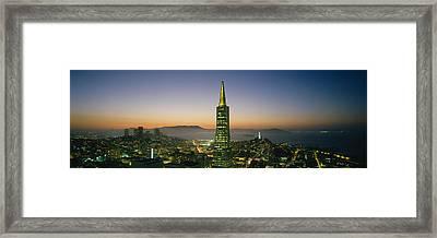 Buildings Lit Up At Dusk, Transamerica Framed Print