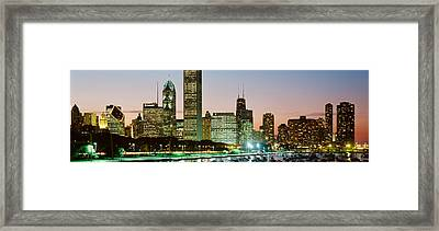 Buildings Lit Up At Night, Chicago Framed Print by Panoramic Images