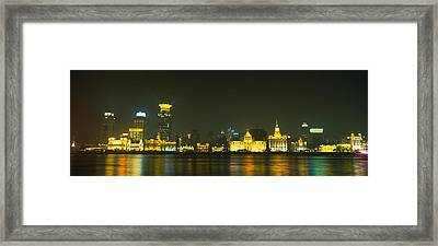 Buildings Lit Up At Night, The Bund Framed Print