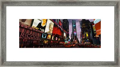 Buildings Lit Up At Night, Times Framed Print by Panoramic Images