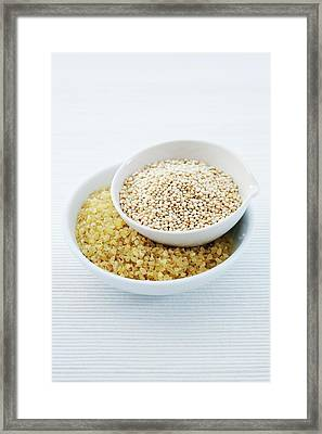 Bulgur Wheat And Quinoa Seeds Framed Print by Gustoimages