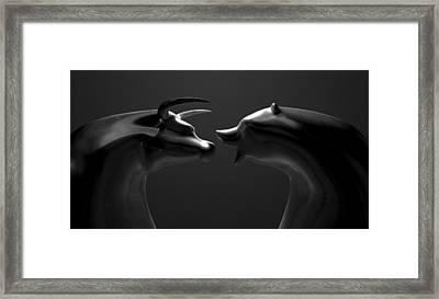 Bull And Bear Market Trend Bronze Castings Framed Print