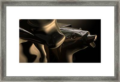 Bull And Bear Stock Market Statues Framed Print by Allan Swart