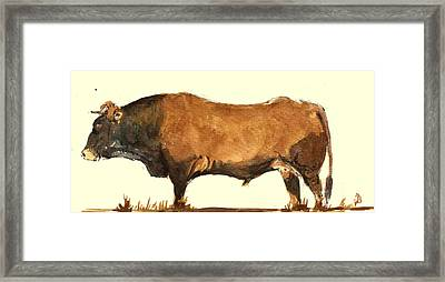Bull Framed Print by Juan  Bosco